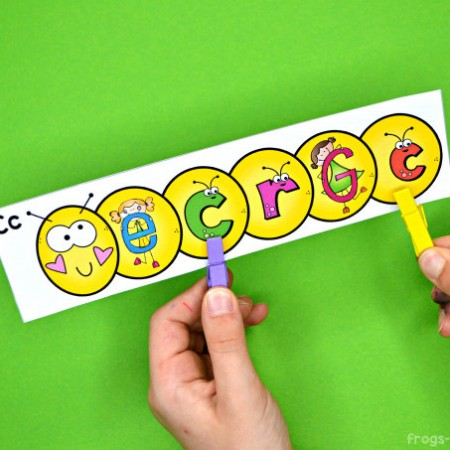 Caterpillar Clip Cards - Numbers, Letters & Shapes