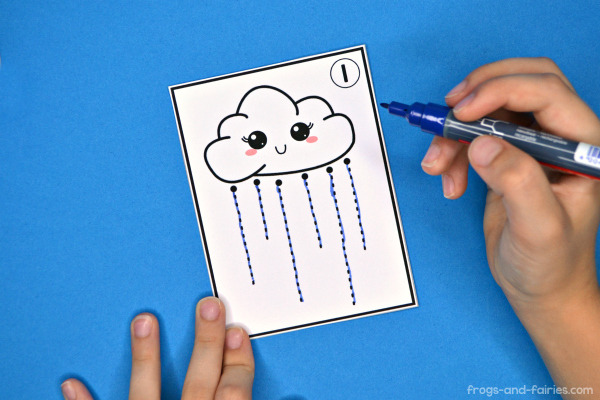 Rain Cloud Pre-Writing Tracing Cards