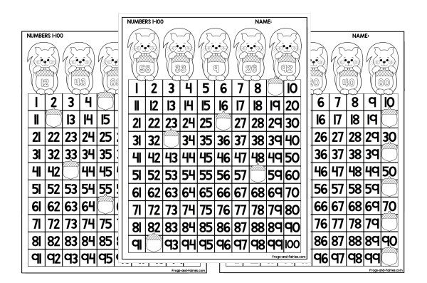 Acorn Hundreds Charts Missing Numbers