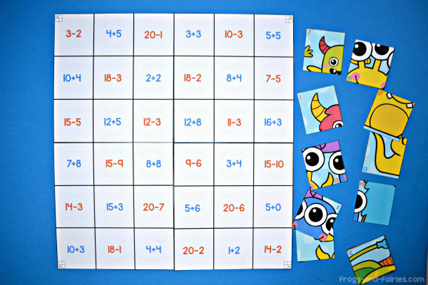 Monster Addition & Subtraction to 20 Mega Puzzle