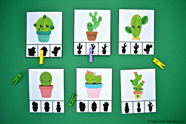 Cactus Shadow Match Puzzle and Clip Card Pack